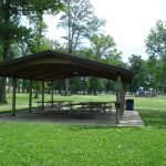Eastview 1, shelter house with trees and playground near